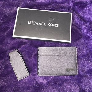 Micheal Kors card wallet and money clip set